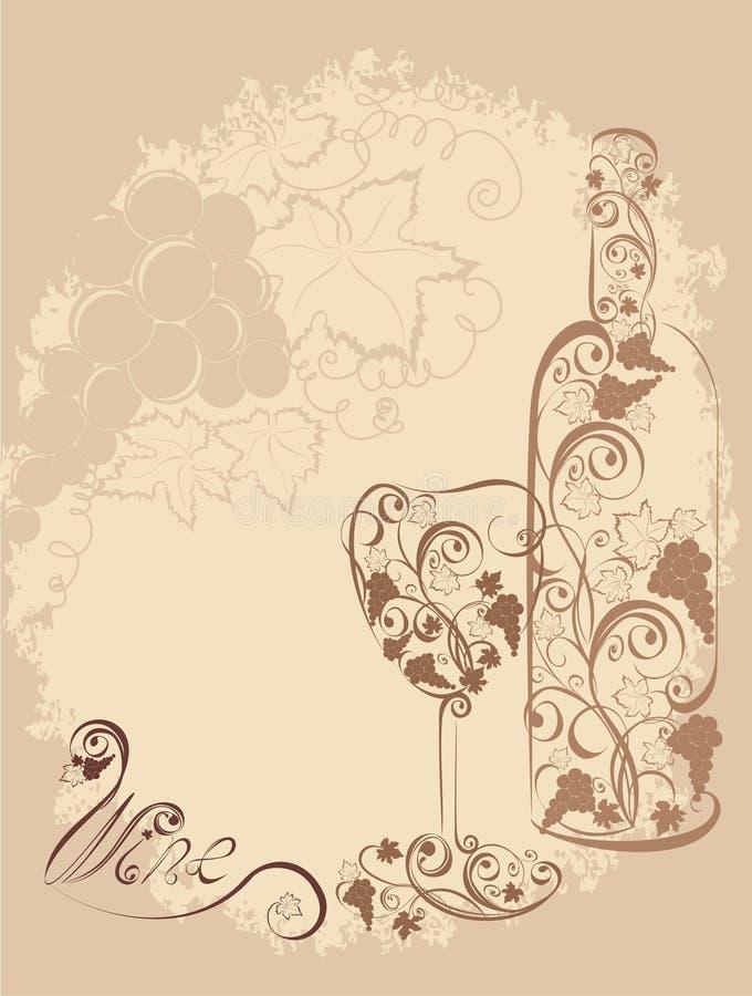Стилизованная бутылка вина и стекло вина иллюстрация вектора