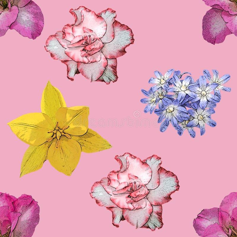 Картина предпосылки цветков весны безшовная стоковое изображение rf