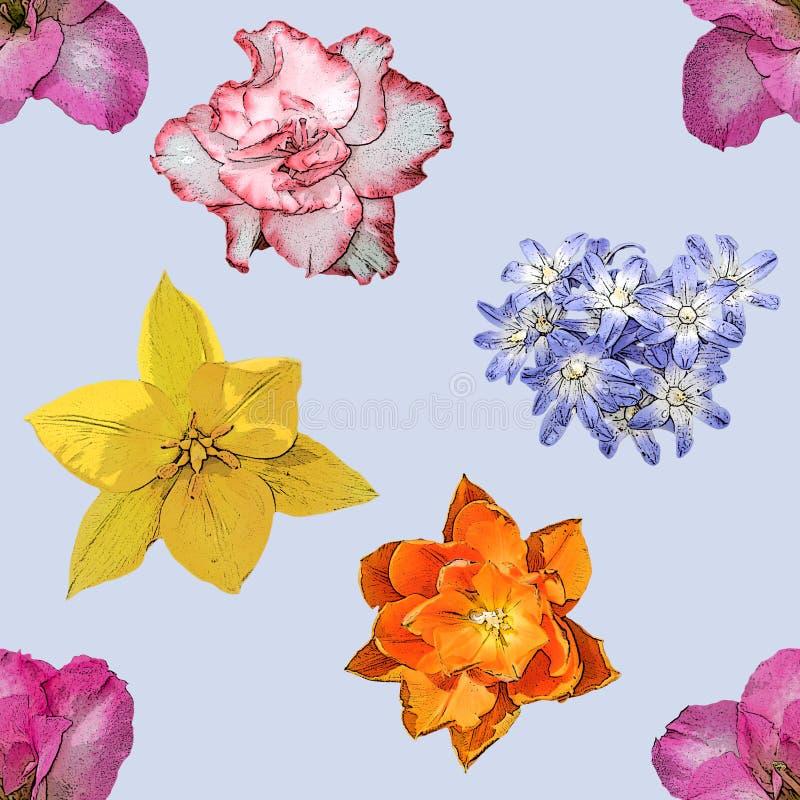 Картина предпосылки цветков весны безшовная стоковое фото