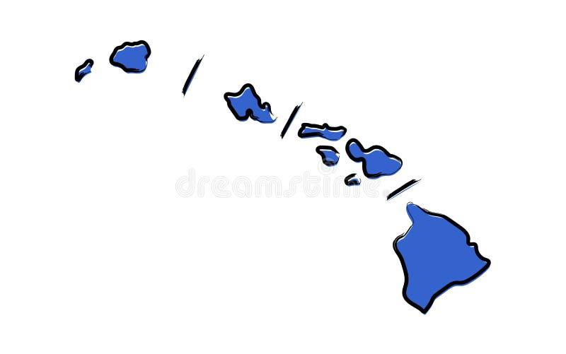 Стилизованная голубая карта эскиза Аляски иллюстрация вектора