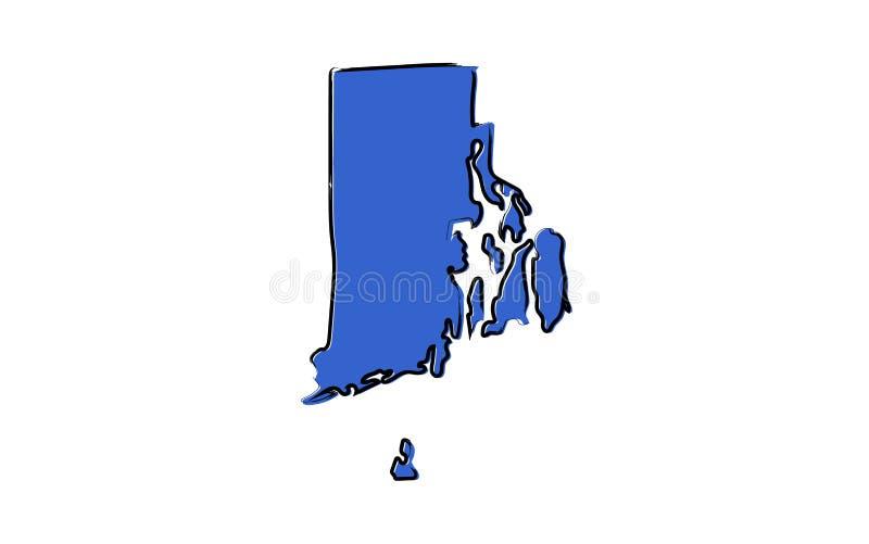 Стилизованная голубая карта эскиза Род-Айленда иллюстрация вектора