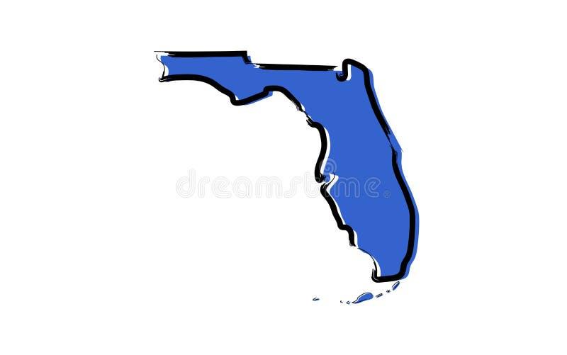 Стилизованная голубая карта эскиза Флориды иллюстрация вектора
