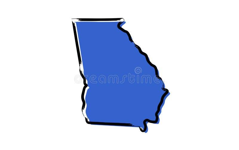 Стилизованная голубая карта эскиза Georgia, США иллюстрация вектора