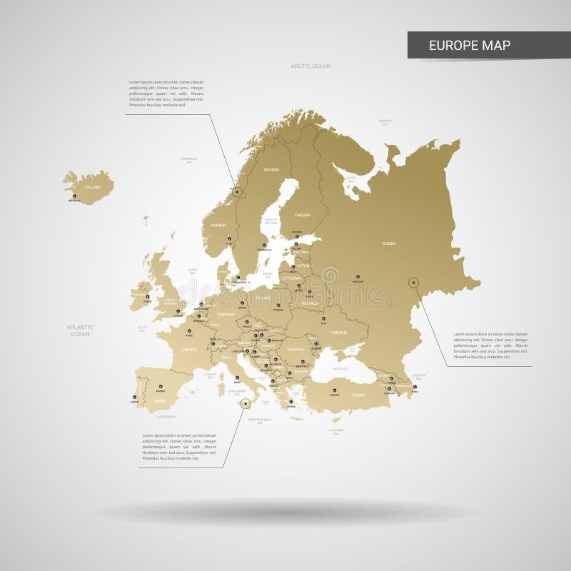 Стилизованная иллюстрация вектора карты Европы иллюстрация вектора