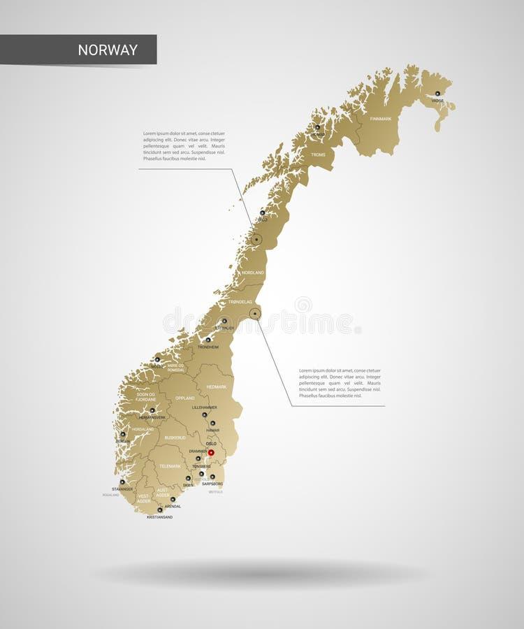 Стилизованная иллюстрация вектора карты Норвегии бесплатная иллюстрация