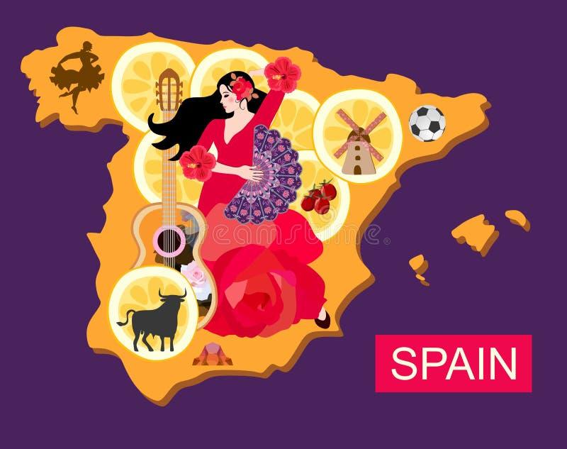 Стилизованная карта Испании с девушкой танцора фламенко, гитарой, черным быком, мельницей, футболом, частями лимона и силуэтом to бесплатная иллюстрация