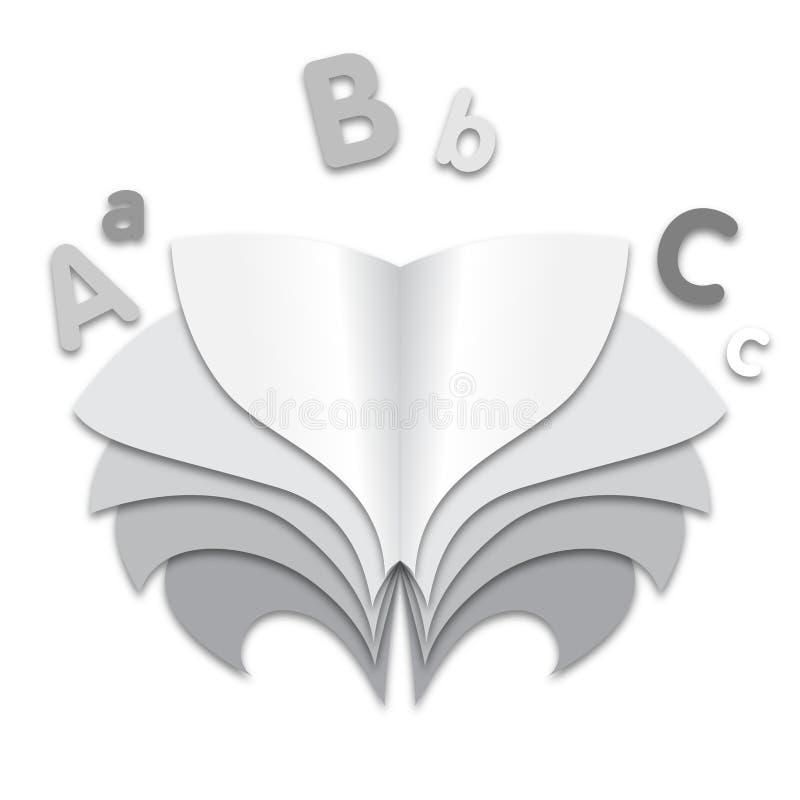 Стилизованная книга изображения с иллюстрацией страниц серой шкалы иллюстрация штока