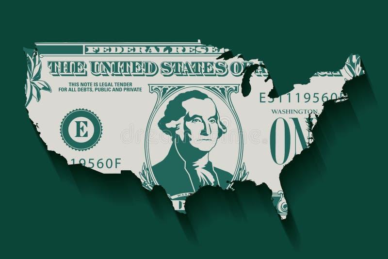Стилизованная одна долларовая банкнота в форме Америки иллюстрация вектора
