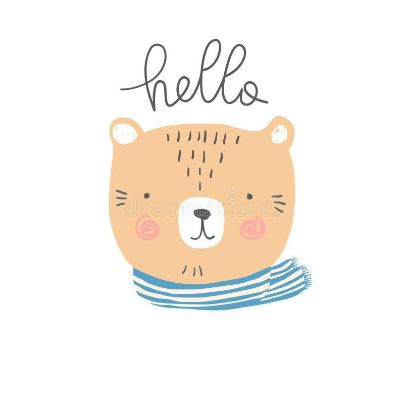 Стилизованная покрашенная иллюстрация нарисованная рукой милой головы медведя с здравствуйте! цитатой бесплатная иллюстрация