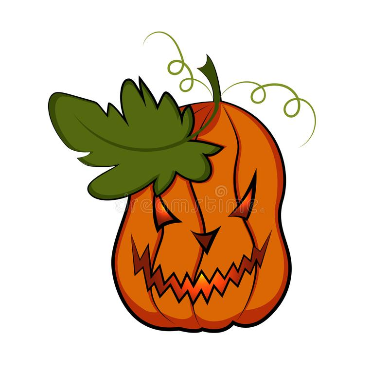 Стилизованная страшная тыква с листьями o Фонарик Джек тыквы иллюстрация вектора