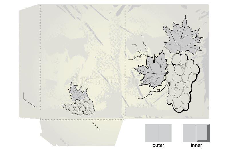 стилизованное виноградин подарка скоросшивателя ретро иллюстрация вектора