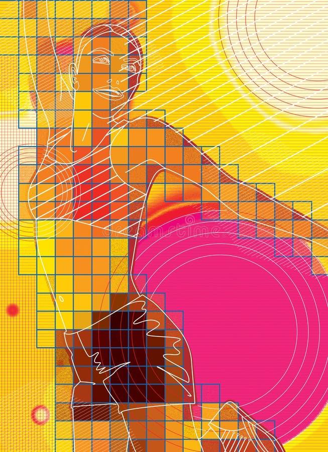 Стилизованное графическое изображение девушки с костюмом для фитнеса Иллюстрация цифров иллюстрация штока