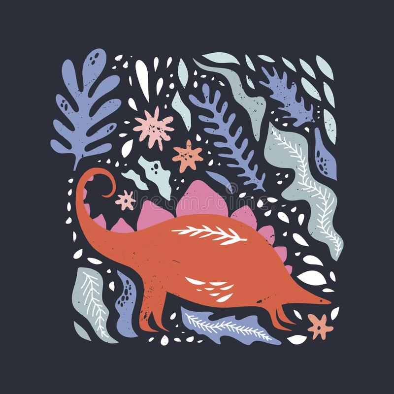 Стилизованное искусство динозавра Картина для иллюстрации вектора детей, девушек и мальчиков Красочное животное мультфильма, абст бесплатная иллюстрация