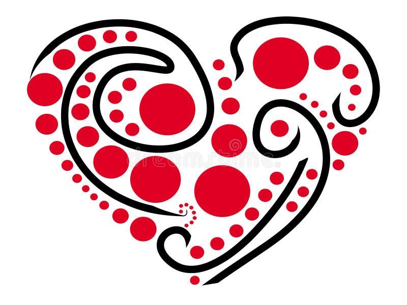 Стилизованное сердце покрашенное с черными линиями и красными точками бесплатная иллюстрация