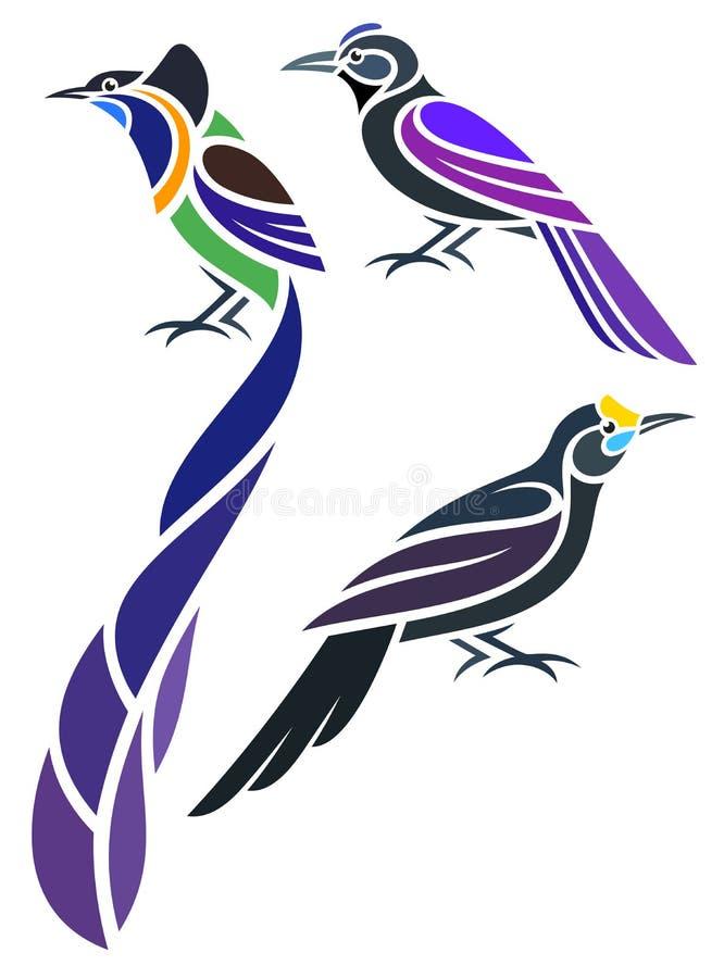 Стилизованные птицы - иллюстрация вектора стоковые изображения rf