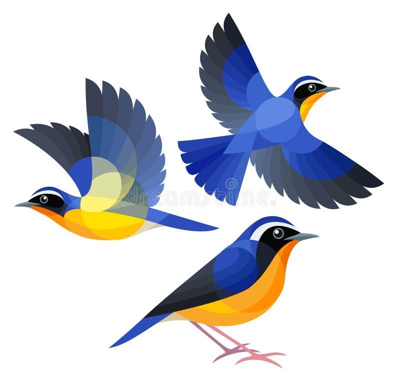 Стилизованные птицы - индийское голубое Робин стоковые фотографии rf