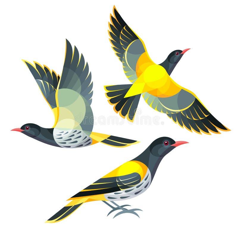 Стилизованные птицы - Oriole стоковое изображение