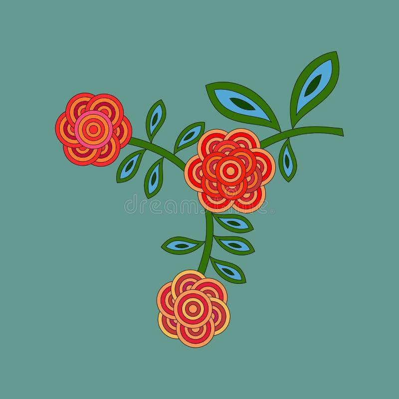 Стилизованные ретро пионы или розы цветков в красных зеленых тенях иллюстрация вектора