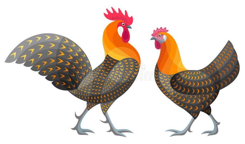 Стилизованные цыплята - иллюстрация вектора стоковые изображения