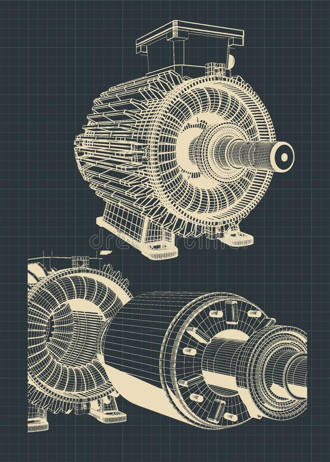 Стилизованные чертежи электрического двигателя иллюстрация штока