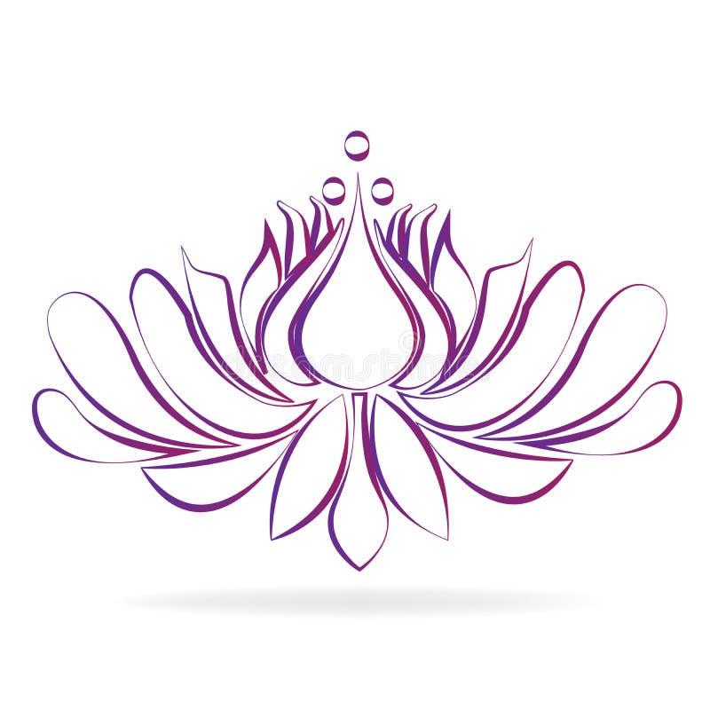 Стилизованный вектор логотипа цветка лотоса иллюстрация вектора