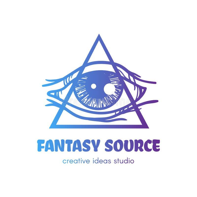 Стилизованный глаз providence с логотипом вектора треугольника иллюстрация штока