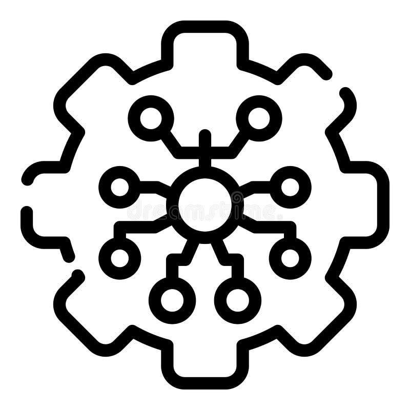 Стилизованный значок колеса шестерни, стиль плана иллюстрация вектора