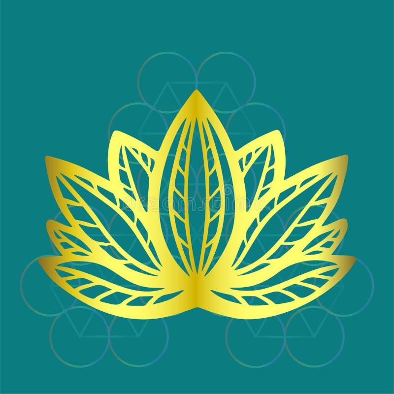Стилизованный золотой логотип цветка лотоса на голубой дизайне фантазии предпосылки нарисованном рукой для татуировки, ткани ткан иллюстрация штока