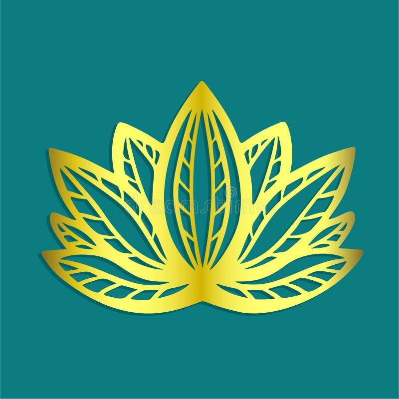 Стилизованный золотой логотип цветка лотоса на голубой дизайне фантазии предпосылки нарисованном рукой для татуировки, ткани ткан иллюстрация вектора