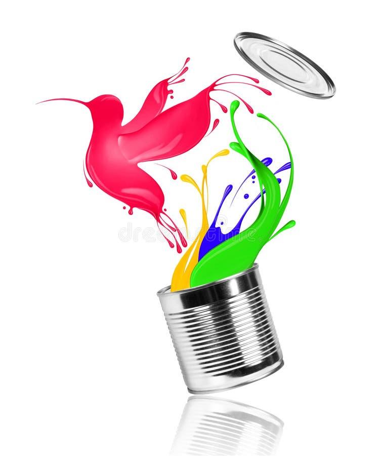 Стилизованный колибри летает из чонсервной банкы с красочной краской бесплатная иллюстрация