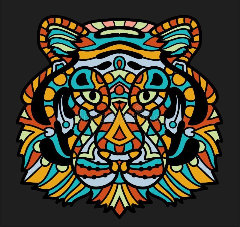 Стилизованный красочный тигр doodle Вручите вычерченному шаржу животную иллюстрацию, страницу книжка-раскраски Декоративное богат бесплатная иллюстрация