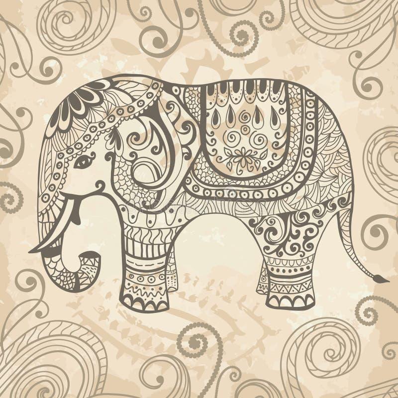 Стилизованный кружевной слон иллюстрация штока