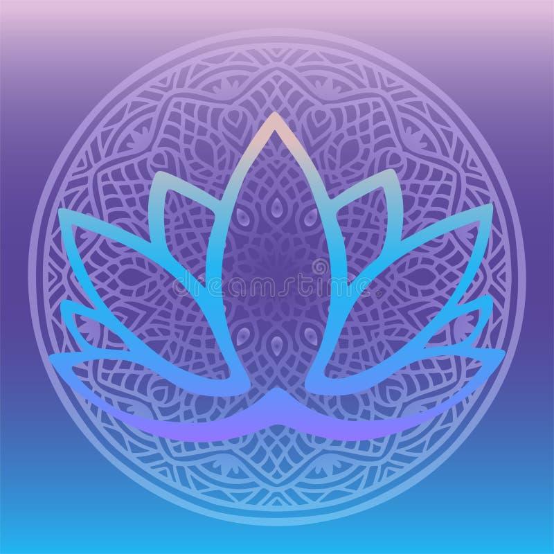 Стилизованный логотип цветка лотоса в тенях голубого и пурпура обрамленных с круглой флористической мандалой на фантазии предпосы иллюстрация вектора