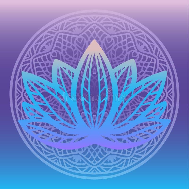 Стилизованный логотип цветка лотоса в тенях голубого и пурпура обрамленных с круглой флористической мандалой на фантазии предпосы иллюстрация штока