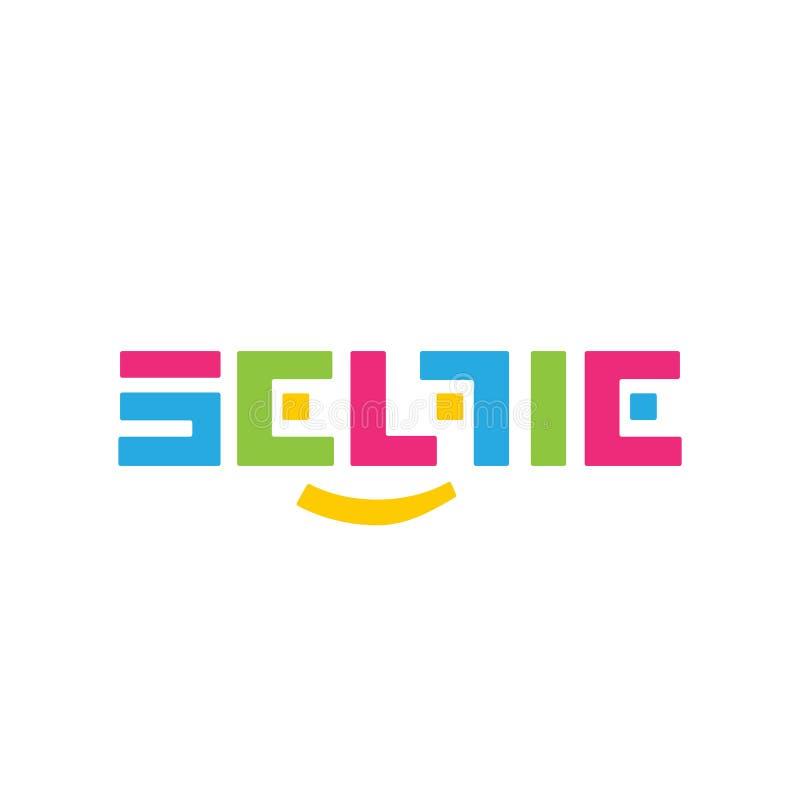 Стилизованный логотип SELFI вектора цвета на белой предпосылке Красивый и современный дизайн для клеймить стоковое изображение