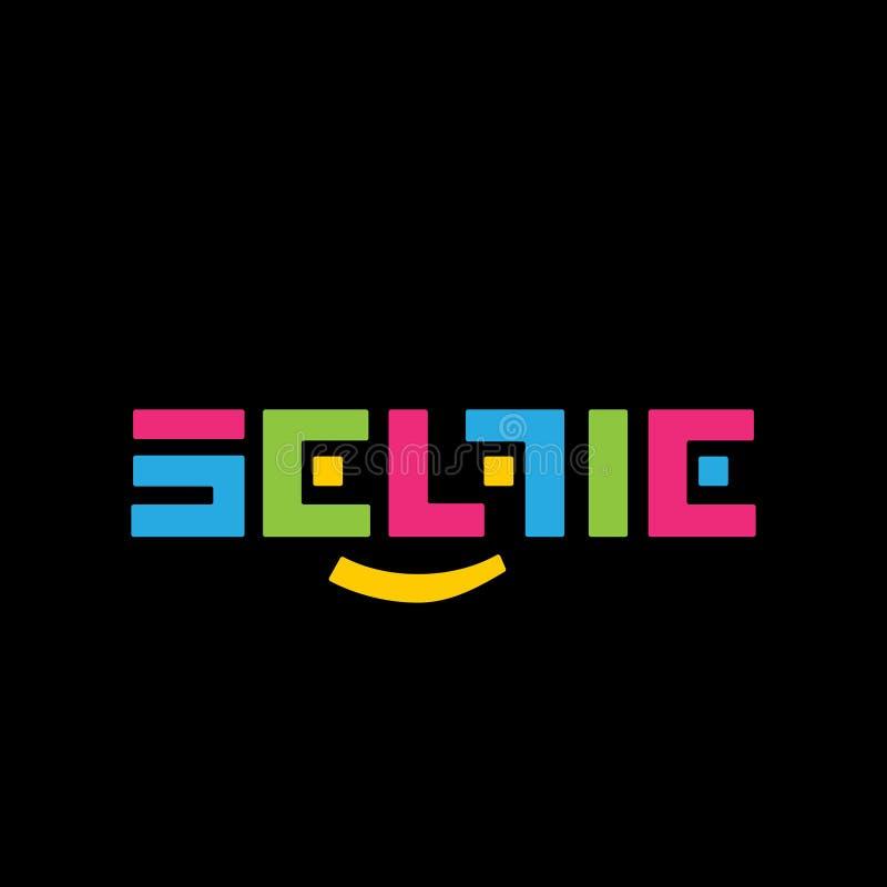 Стилизованный логотип SELFI вектора цвета на черной предпосылке Красивый и современный дизайн для клеймить стоковые фото