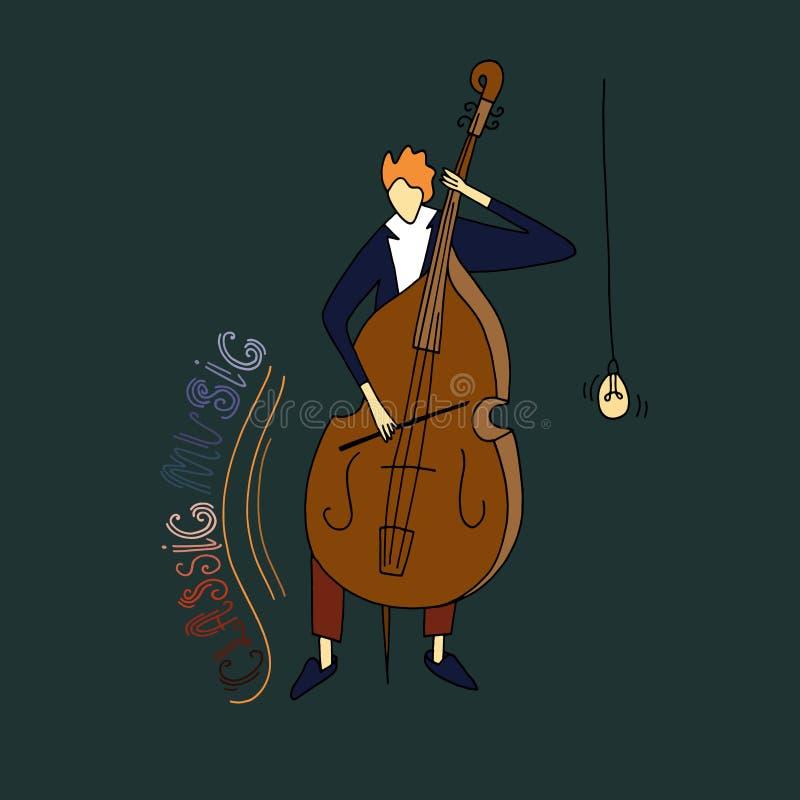 Стилизованный парень играя виолончель иллюстрация штока