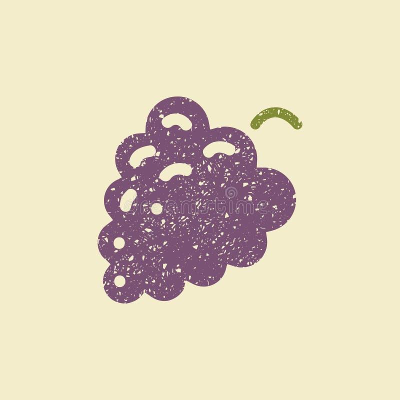 Стилизованный плоский значок виноградины иллюстрация штока