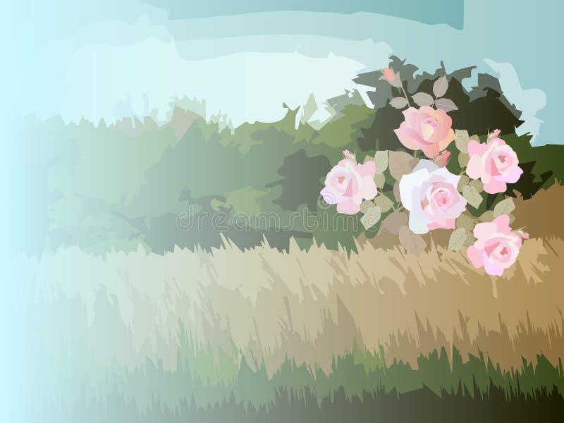 Стилизованный сельский ландшафт с деревьями, кустом роз и полем E r Шаблон упаковывая, место для текста иллюстрация вектора