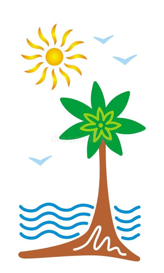 Стилизованный тропический seascape Palma, пляж, солнце, море и чайки смогите конструктор каждый вектор оригиналов предмета evgeni иллюстрация вектора