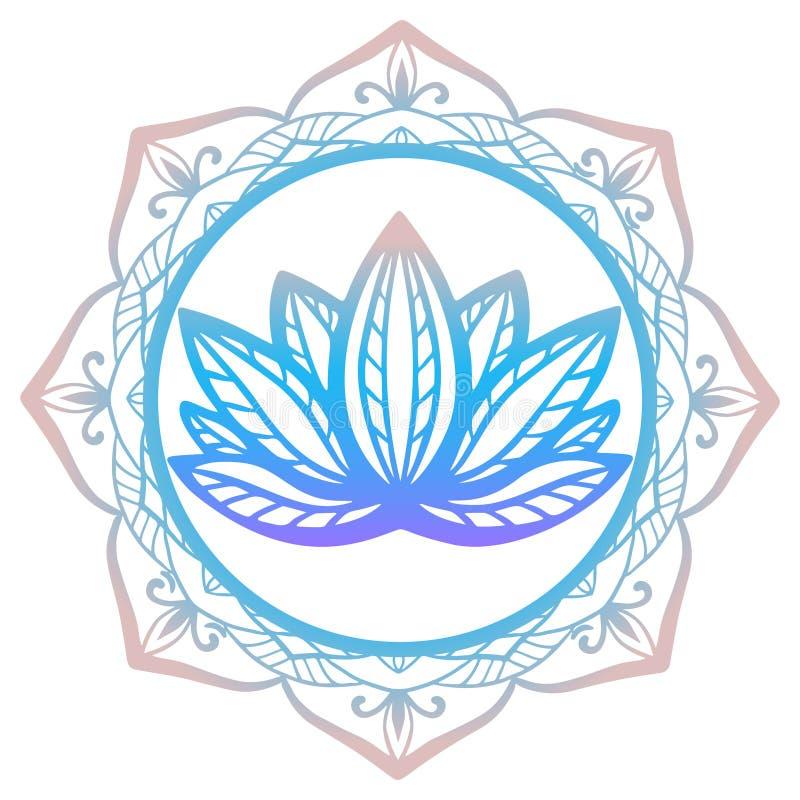Стилизованный цветок лотоса в тенях фиолетового и сини обрамленных при флористическая мандала изолированная на белой desi фантази иллюстрация штока