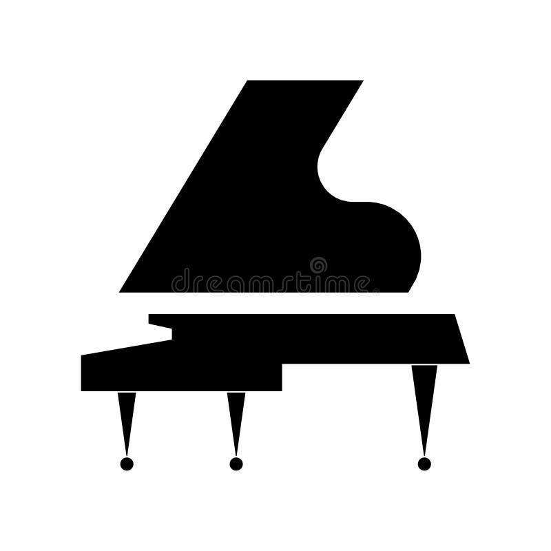 Стилизованный черный рояль на белой предпосылке Дизайн вектора плоский иллюстрация вектора