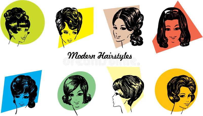 стили причёсок 1960s иллюстрация вектора