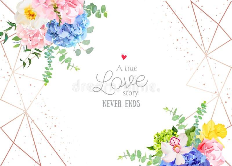 Стильная геометрическая рамка дизайна вектора свадьбы с цветками бесплатная иллюстрация