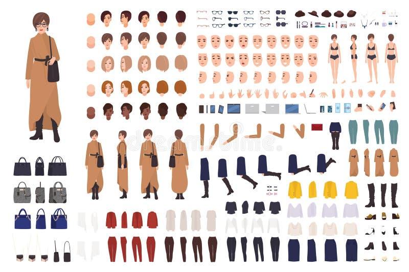 Стильная женщина конструктора средних возрастов или набора DIY Собрание женских частей тела персонажа из мультфильма, уход за лиц бесплатная иллюстрация