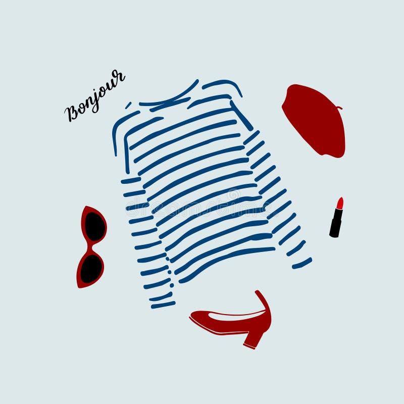 Стильная парижская иллюстрация обмундирования с голубой striped футболкой, ботинками, солнечными очками, бургундским беретом и кр иллюстрация вектора