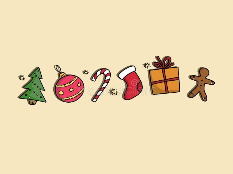 Стильная рождественская елка, подарок, печенье пряника, конфета, безделушка, s бесплатная иллюстрация