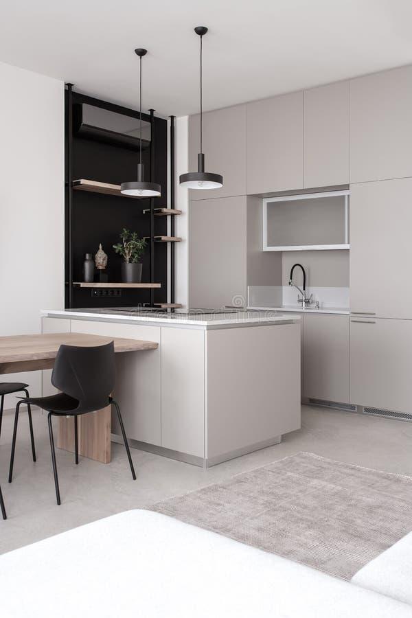 Стильная современная кухня со светлыми стенами и серым полом стоковое фото rf