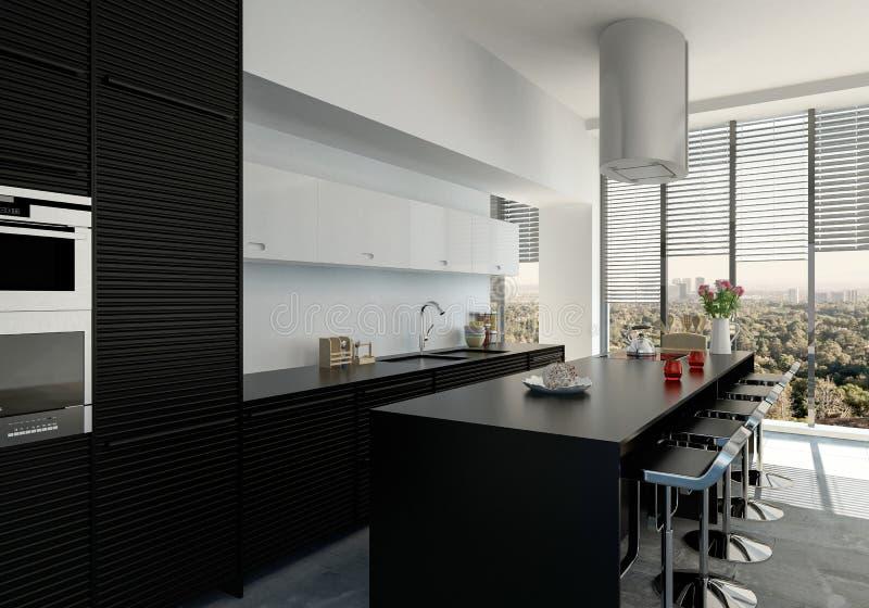 Стильная современная кухня с счетчиком бара иллюстрация вектора