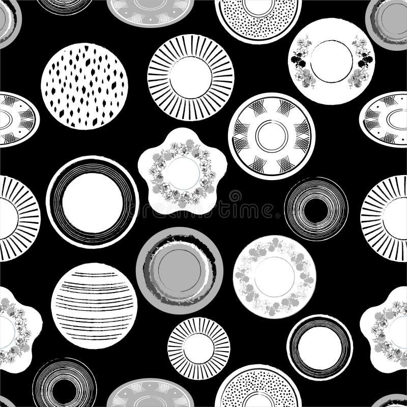 Стильная monotone черно-белая иллюстрация вектора блюд фарфора руки вычерченных делает по образцу безшовную картину в векторе, ди иллюстрация штока